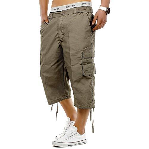 ITISME Pantacourt Homme Sport 3/4 Salopette Homme Pantalon de Travail Homme ete Nouveau Mens Taille élastique Combat 3/4 Pantalons Courts de Longueur au Genou