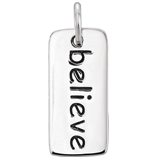 Sterling Silber Believe Tag Charme (Sterling Engraveable Charme)
