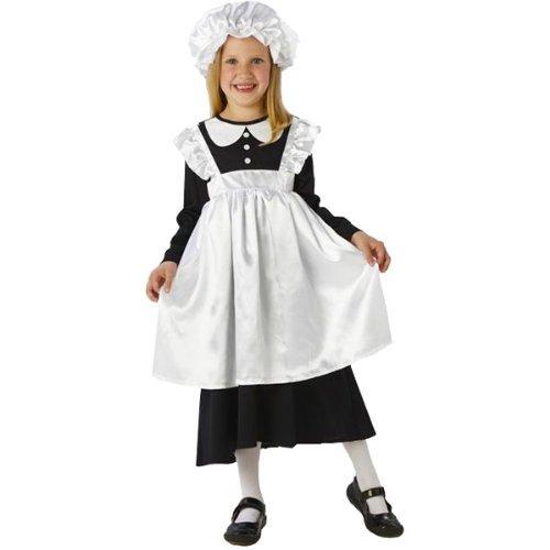 Kinder viktorianischen Maid -Kostüm. Große 7-8 Jahre . Kleid mit Schürze und Hut.