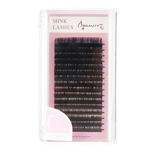 Beauty7 C-curl Extension de cils Naturel Mix Taille 8mm - 14mm Faux-cils en Boite Diametre 0.12mm - 0.25mm Faux Cils Noir Maquillage