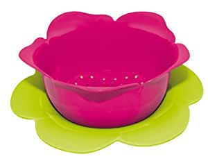 Zak Designs 1701-A850 Mini-Colander with Saucer Melamine Diameter 16.5 cm Raspberry / Green