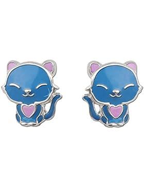 CLEVER SCHMUCK Silberne Ohrstecker kleine lustige Katze mit Herz blau und rosa-pink lackiert glänzend im japanischem...