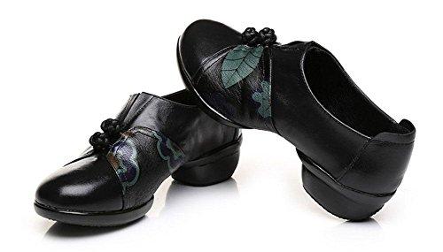 SHIXR Frauen Folk Wind Dance Schuhe Weiblich Leder Feld Platz Sportschuhe Jazz Schuhe Vier Jahreszeiten Mutter Schuhe Casual Schuhe Schwarz