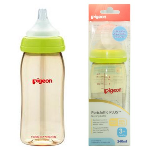Pigeon Peristaltic PLUS PPSU Nursing Bottle BPA Free 240 ml with nipple size M by Pigeon