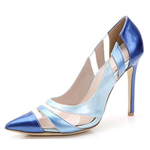 Xianshu Gradient Fight Farbe High Heel Schuhe Shallow Mund Punkt Zehe Pumps(Blau-38)