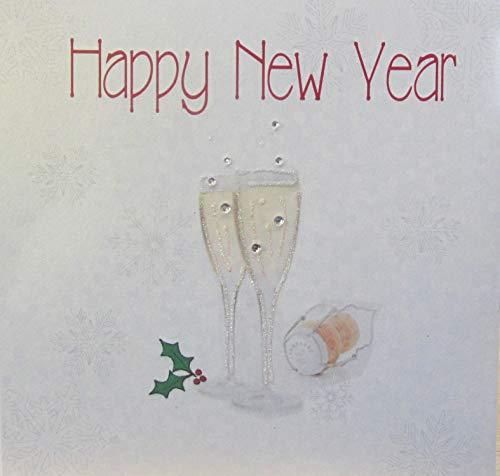 WHITE COTTON CARDS Happy New Year handgefertigt Karte in Champagner Brille Design