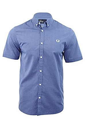 Fred Perry End on End Shirt in Mid Blue Large