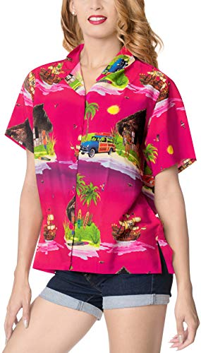 LA LEELA entspannte Freizeitkleidung Strand Hawaii Hemd Christmas Santa Claus Jingle Bells X-Mas Tree Weihnachten Rosa_X207 S - DE Größe :- 42-44