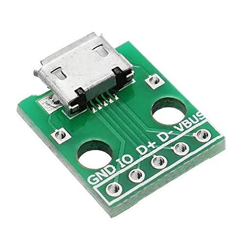 RZL LED-Lichter, USB zu Dip Buchse B Typ Mikrofon, 5P Patch to Dip 2,54 mm Pin mit Lötadapterplatte, 20 Stück