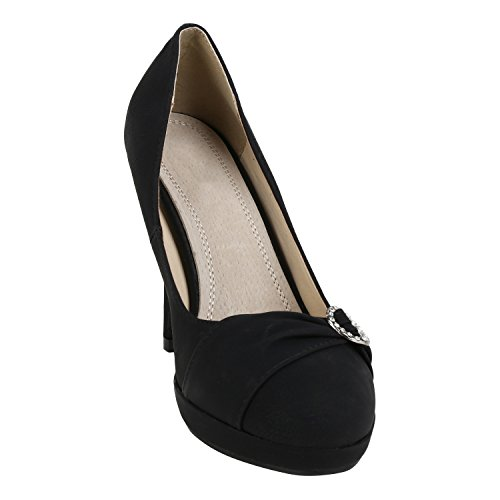 napoli-fashion Damen Pumps High Heels Übergrößen Party Schuhe Metallic Abendschuhe Glitzer Pailletten Lack Absatzschuhe Plateauschuhe Jennika Schwarz Strass