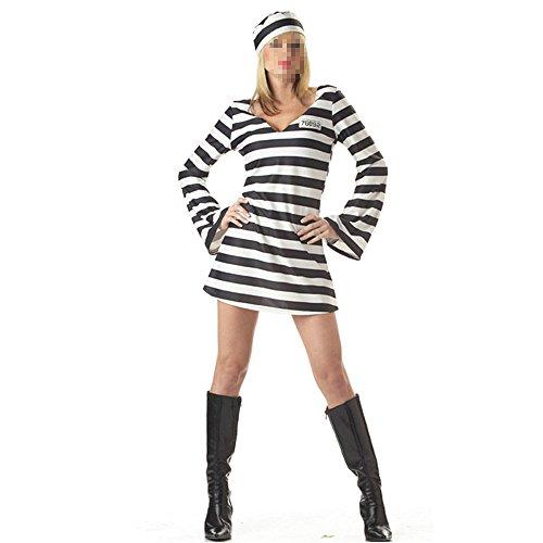 Moojm Frauen Gefangener Rollenspiel Cosplay Uniform Horror Gefangener Outfit Streifen Phantasie Für Halloween Party Kostüm