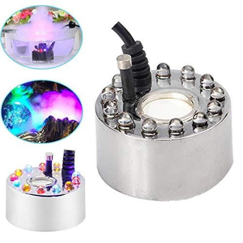 LHY LIGHT 12 LEDs Ultraschall-Nebelmaschine Nebelgerät Springbrunnen Teich Nebelmaschine Zerstäuber Luftbefeuchter
