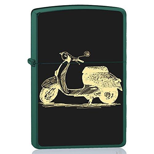 BJJ Accendino verde, accendino a benzina con design: Disegno di lavagna della moto classica