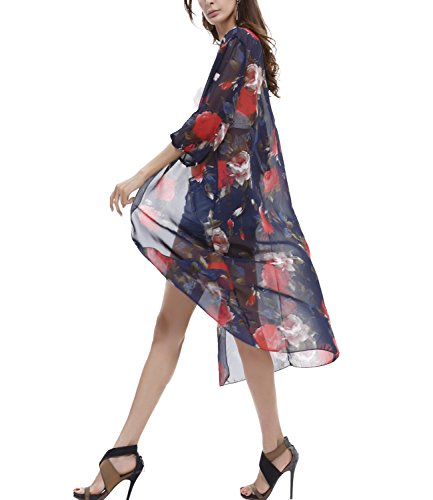 Bikini Badeanzug Cover Up Kimono Chiffon Cardigan Strandurlaub Kleid Strandponcho One Size FStory Blau