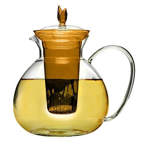 Primula Asha Glas Teekanne, inklusive Teesieb und Deckel mit 2Teerosen 60-ounce, Bernstein -