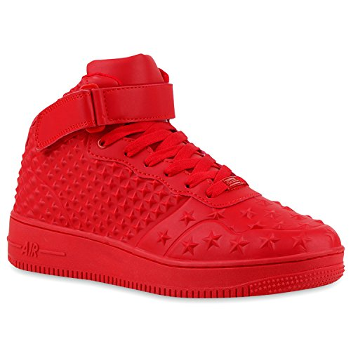 Damen Herren Cultz Basketballschuhe Sportschuhe Sneakers Rot Sterne