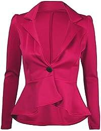 Fast Fashion Damen Blazer Oben Plain Schößchen One Knopf Frill Mantel 7acb22f45b