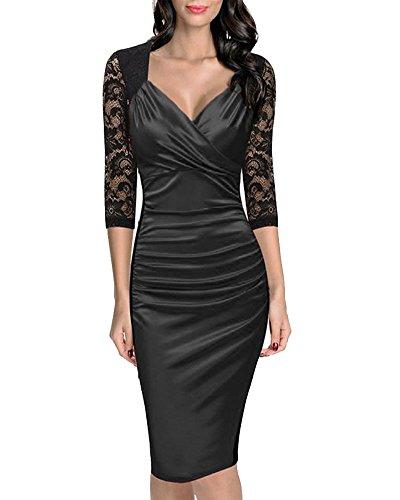 Femme 3 / 4 de Manche Vintage Decontracte Robe Noir