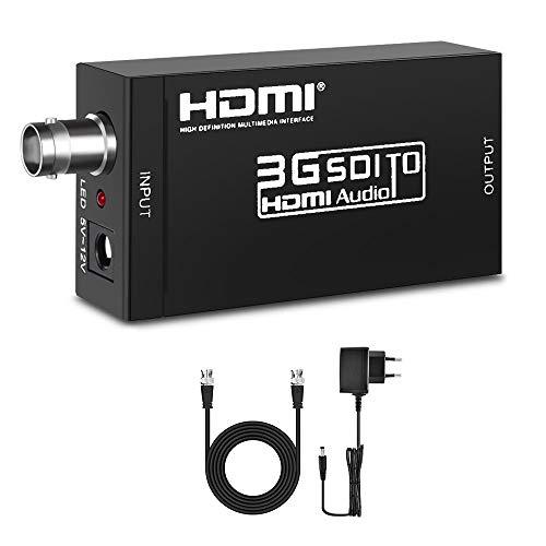 ELUTENG SDI HDMI Adapter 1080P 60Hz SDI Wandler zu HDMI 1.3 48K-Audio SDItoHDMIKonverter Unterstützung HD-SDI SD-SDI 3G-SDI Signale für SDI Kamera CCTV System DVR SDI Gerät EINWEG Bnc-audio