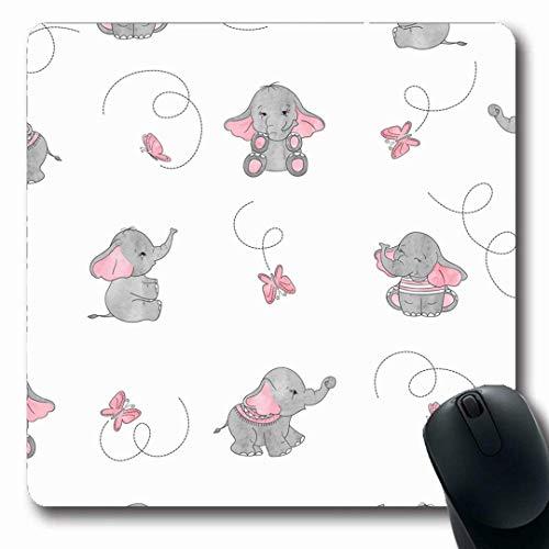 Luancrop Mousepads Rosa Muster-Nette Elefant-Schmetterlings-Grauer Baby-Schmetterlings-Kind-Farbzeichnung Reizende rutschfeste Spiel-Mausunterlage Gummilangmatte - Baby Dekorationen Elefant Grauer