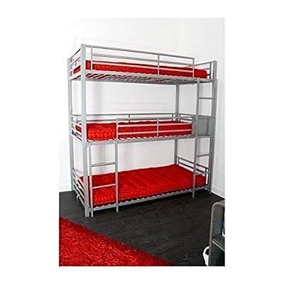 Triple Children's Bunk Bed 90x 190cm Grey - inexpensive UK light shop.