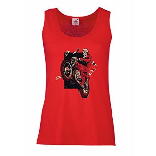 Serbatoio,Maglietta Senza Maniche Femminile Motorcyclist - Abbigliamento Moto, Abiti retrò (Medium Rosso Multicolore)