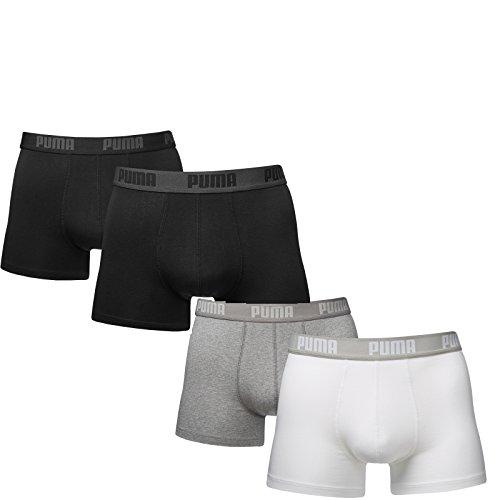 Puma Herren Boxer Basic Unterhosen 4er Pack in verschiedenen Farben 521015001 black (230)/white-grey melange (092)