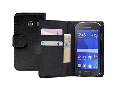 Membrane - Schwarz Brieftasche Klapptasche Hülle Samsung Galaxy Ace Style (SM-G310) - Wallet Case Cover Schutzhülle + 2 Displayschutzfolie