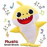 Th-some Baby Shark Jouets en Peluche Jouets en Chantant et Brillant Animé Poupées Bébé Requin Peluche Chant Jouet Cadeaux pour Enfants (Jaune)