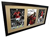 Signée Noir 2016/17 Manchester United Photo Anthony Martial Paul Pogba Zlatan Ibrahimovic autographe Photographie