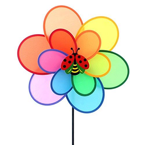 Beetest Doppi Strati Fiore Spinner Colorato Girandole Vento Mulino a Vento con Decorazioni per Insetti