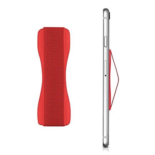 kwmobile Smartphone Fingerhalter Griff Halter - Selbstklebende Handy Fingerhalterung - Finger Halter für z. B. iPhone Samsung Sony Handys Rot