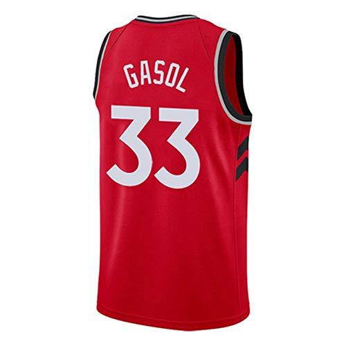Jungen Basketball Fan Trikots Raptors Marc Gasol 33 Trikot Heißgepresste Basketball-Kleidung Schwarz-Rot-Weiß-City-Version des Neuen Heißpressens Red-XXL