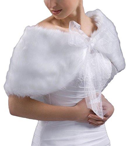 Divita Umhang Bolero Für Abendkleid Hochzeit Cape Stola Braut Brautbolero (Creme/Ivory)