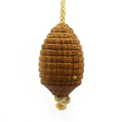 Pushka Home - Estor de madera de roble con cuerda de yute, color beige Novedad madera 100% roble iluminación colgante tirador se vende individualmente. Cuenta con una forma de colmena. Diámetro: 40 mm, longitud: 74 mm