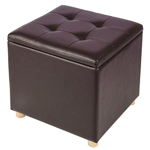 Woltu sh24dbr sgabello sedia a cubo pouf cassapanca poggiapiedi panche contenitore con coperchio rimovibile mdf pvc ecopelle marrone scuro