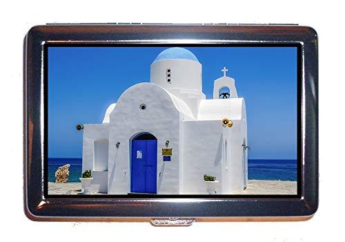 Cassa di identificazione o di sigarette in acciaio inossidabile, cielo blu della spiaggia di architettura, scatola di caso del supporto di contanti