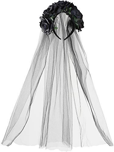 (Rose Stirnband Floral Crown Blume Schleier Kopfschmuck für Tag der Toten Halloween Kostüm (Schwarz))