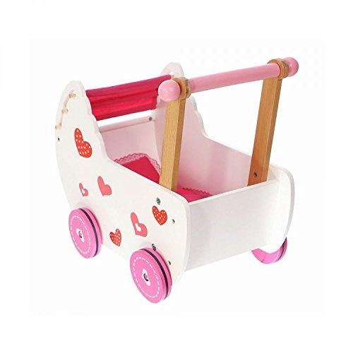 Lauflernhilfe Lauflernwagen Laufwagen Holz Baby Herz Puppenwagen Gehfrei Rutscher 2150