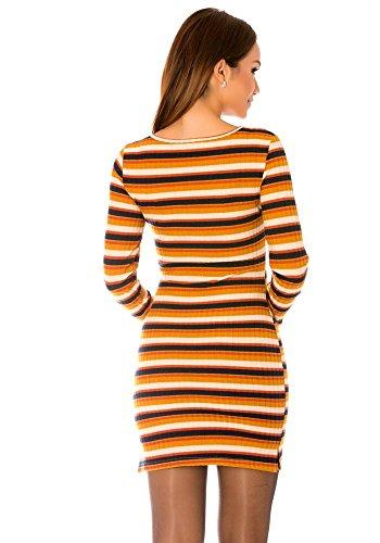 dmarkevous - Robe moutarde à manches longues et à rayures et col rond. Jaune