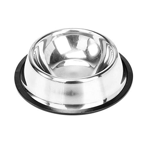 JFHGNJ Hundenapf Edelstahl Standard Haustier Hund Welpe Katze Wassernapf Futternapf Schüssel Für Katzenfutterautomat-Silber_L -