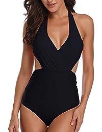 Misolin Damen Badeanzug Neckholder V-Ausschnitt Rückenfrei Einteiliger Bademode Bauchweg Cutouts Strandbikini