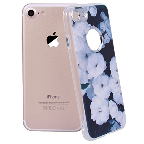 Cover iPhone 8,GrandEver iPhone 8 Custodia,3D Modello Design Morbido TPU Silicone Cover Slim Anti Scivolo Custodia Protezione Cover Case per iPhone 8 - Cucciolo Nero Fiore
