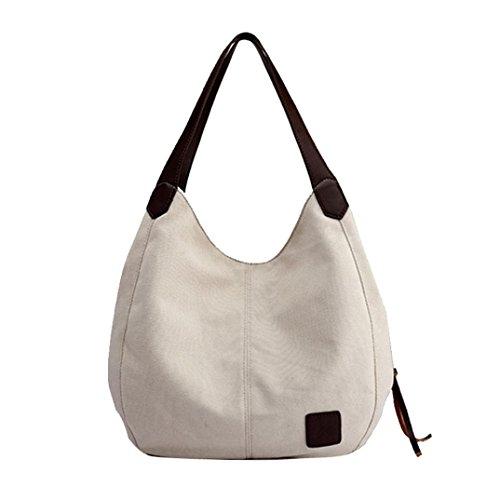 VENMO Frauen Leinwand Handtaschen Vintage hohe Qualität weibliche einzelne Umhängetaschen Damen Umhängetasche Damen Henkeltasche Schultertasche Umhängetasche Leichte Schultertasche (White)