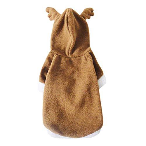 FLAMEER Hundemantel Weihnachten Halloween Verkleidung Cosplay Kostüm Hoodie Wintermantel Jacke für Hund und Katze - S -
