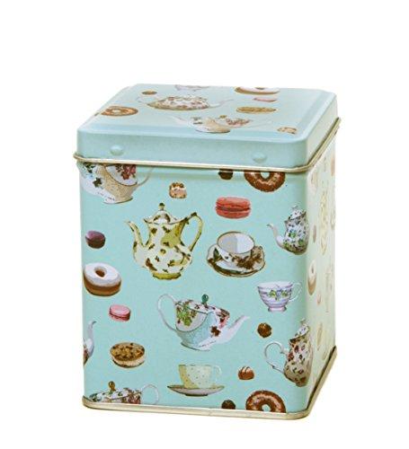 Tea Caddy - Duck Egg Blue - Small Square 100gm - TEATIME TEAPOTS DESIGN - 9.5cm