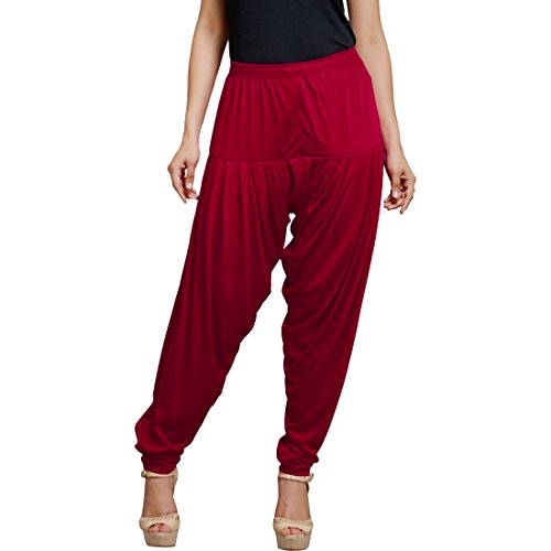 Smartees Dark Red Color Viscose Patiala Pants for Women