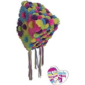 Pinata von bunten Blumen mit Pompons. Hochzeit Piñata. Piñata Jahrestag(Optionaler Stick)