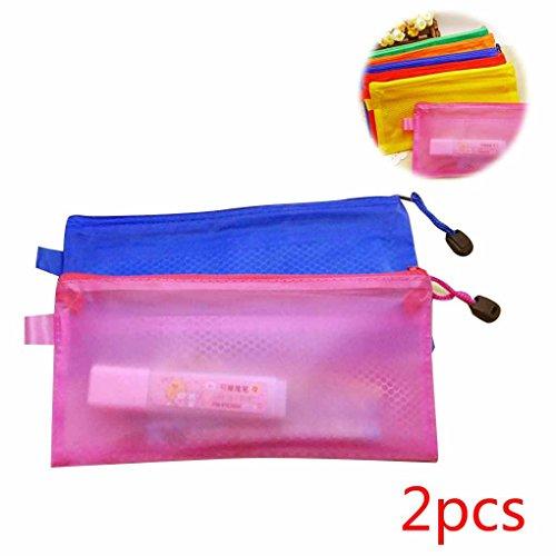oubang-2pcs-transparent-zipper-double-couche-en-pvc-document-bill-pen-bag-articles-de-papeterie-coul