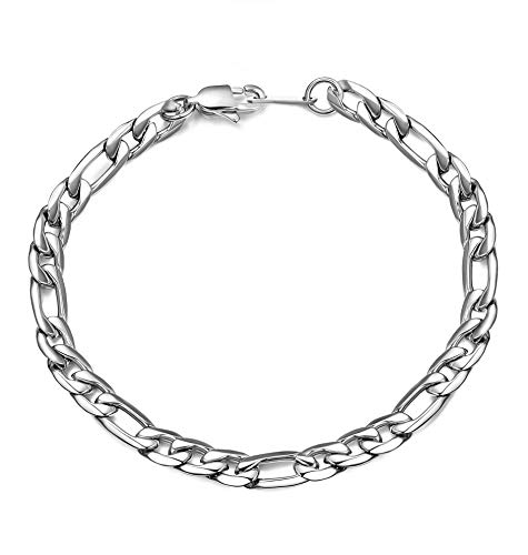 sailimue 6mm/9mm Breite Edelstahl Armband für Männer Frauen Figaro Kette Armband am Handgelenk Silber/Gold Ton - Silber-gold-ton